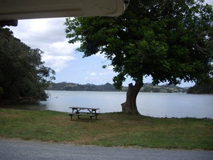 The view from the back of our camper van right now in Paihia, close to the Bay of Islands..