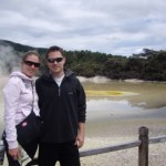 Us in front of the Artist's Palette in Waiotapu.  This lake had different colored pots from different minerals (sulphur, pumice, ferrous oxide, gold, silver, etc.), hence the name.