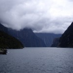 Looking down the waterway at Milford Sound.