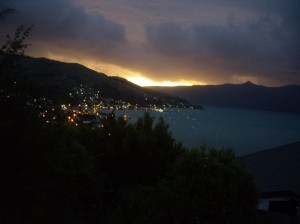 The sunset in Akaroa