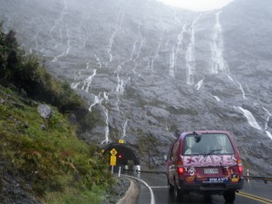 The water poured off the side of the cliffs in thousands of beautiful waterfalls at Milford Sound.
