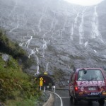 One of the only times I'll be OK with pouring rain, in Milford Sound.  Did we mention you have to drive through 2km of mountain to get there (and it took 17 years to build that tunnel)?