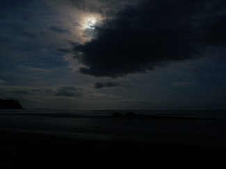 The full moon at hot water beach at midnight
