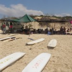 The beach tent with the surf boards