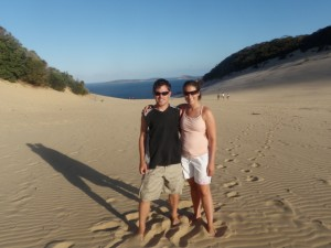 Standing in the sand blow in Rainbow Beach