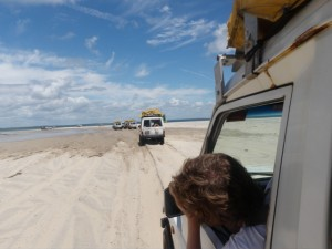 4x4'ing on the beach on Fraser island