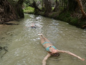 Kenna floating down the water in Eli Creek on Fraser Island
