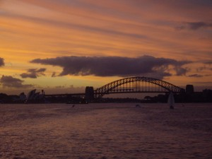 Beautiful sunset on the ferry coming back from Manly