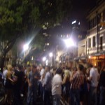 The street party, around 3 a.m.