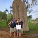 Us standing in front of a giant 30 yr-old termite mound
