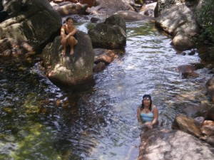Kenna and Thisbe in a swimming hole in Kakadu