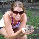 Kenna holding a fresh kitten we found in Gili Travagan