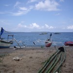 Photo of the Gili islands from Lombok. If you look closely, you can see all three Gili islands