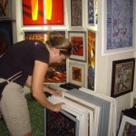 Kenna picking through the endless Batik artwork