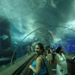 Kenna in a tunnel at Underwater World