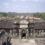 The outer wall of Angkor Wat, seen from the middle tower
