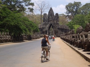 Biking through the gates of Angkor Thom
