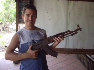 Scott never thought he'd hold an AK-47