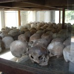 Collection of skulls inside the stupa at the Killing Fields