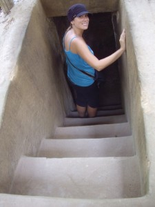 Kenna heading into one of the Cu Chi tunnels.