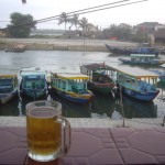 "View of the river by Hoi An with a fantastic 25¢ ""Bia Hoi"" (fresh beer)"