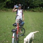Biking through a rice paddy