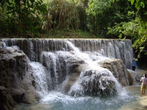 The beautiful waterfall in Luang Prabang