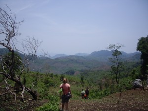 Hiking through the mountainous terrain on the way to the remote hill tribes