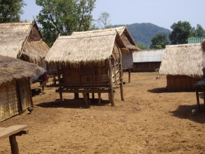 The Hmong village - all houses are built on stilts, as opposed to Khmu villages which are all built on land.