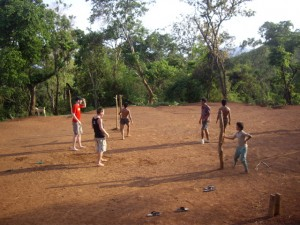 Scott playing Takraw with the local kids