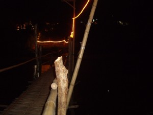 We crossed the river beside Luang Prabang on this rickety bamboo bridge