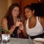 Thalie and Aysha cheersing some Lao Lao in Pakbeng