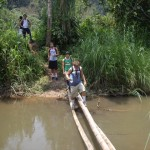 Crossing a very unstable bamboo bridge