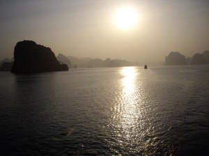 Sun setting over Halong Bay, Vietnam