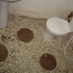 Our crazy pebble-floored bathroom.  Au naturel!